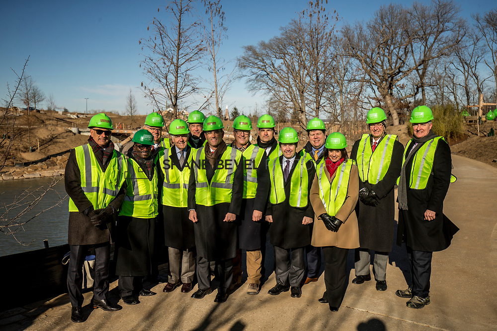 1/12/18 11:12:53 AM -- Halliburton CEO Jeff Miller and George Kaiser visit the Gathering Place for a press conference announcing Halliburton's support for the park. <br /> <br /> Photo by Shane Bevel