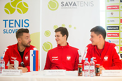 Michal Przysiezny, Hubert Hurkacz, Kamil Majchrzak during press conference of Polish Men Davis Cup team before tournament against Slovenia, on January 30, 2018 in Hotel Maribor, Maribor, Slovenia. Photo by Vid Ponikvar / Sportida
