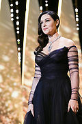 Monica Bellucci Opening Ceremony - The 70th Annual Cannes Film Festival CANNES, FRANCE -  Host Monica Bellucci arrives on stage during the Opening Ceremony of the 70th annual Cannes Film Festival at Palais des Festivals <br /> ©Exclusivepix Media