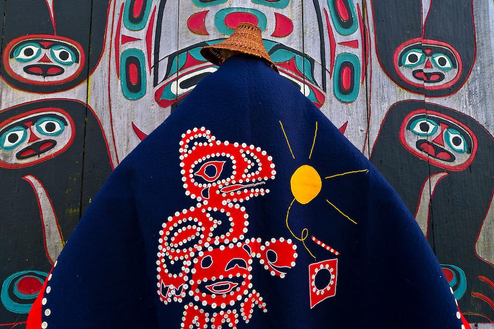 Woman in Tlingit native costume, Chief Shakes Tribal House, Chief Shakes Island, Wrangell, southeast Alaska USA