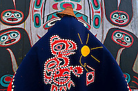 Woman in Tlingit native costume, Chief Shakes Tribal House, Chief Shakes Island, Wrangell, southeast Alaska USA
