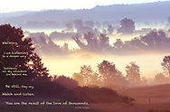 "Early morning overlooking a bank of fog in the lowlands; w/quote: ""Walking, I am listening to a deeper way. Suddenly all my ancestors are behind me. Be still, they say, watch and listen. You are the result of the love of thousands."" By Linda Hogan"