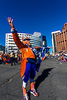 Rocky the Broncos Leprechaun (a super fan), Denver Broncos Super Bowl 50 Victory Parade, Downtown Denver, Colorado USA.