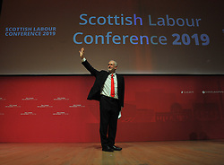 Pictured: Labour leader Jeremy Corbyn speaks to conference.<br /> <br /> The Scottish Labour Party spring conference opened in Dundee on Friday, where Scottish Labour leader Richard Leonard joined delegates and party activists.<br /> <br /> <br /> © Dave Johnston / EEm