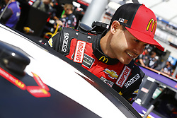 April 13, 2018 - Bristol, Tennessee, United States of America - April 13, 2018 - Bristol, Tennessee, USA: Kyle Larson (42) hangs out in the garage during practice for the Food City 500 at Bristol Motor Speedway in Bristol, Tennessee. (Credit Image: © Chris Owens Asp Inc/ASP via ZUMA Wire)