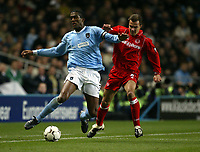 Fotball, 30. november 2003, Premier League, Manchester City - Middlesbrough 0-1,  Szilard Nemeth, Middlesbrough, og Sylvain Distin, Manchester City