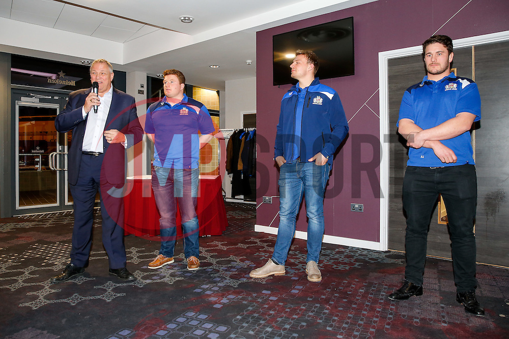 Chris Booy of Bristol Rugby speaks during a Q&A at the Player Sponsors' Dinner in the Heineken Lounge at Ashton Gate - Mandatory byline: Rogan Thomson/JMP - 08/02/2016 - RUGBY UNION - Ashton Gate Stadium - Bristol, England - Bristol Rugby Player Sponsors' Dinner.
