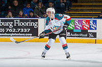 KELOWNA, CANADA - JANUARY 4: Konrad Belcourt #5 of the Kelowna Rockets stands on the ice against the Spokane Chiefs on January 4, 2017 at Prospera Place in Kelowna, British Columbia, Canada.  (Photo by Marissa Baecker/Shoot the Breeze)  *** Local Caption ***