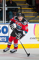 KELOWNA, CANADA - MARCH 18: Leon Draisaitl #29 of Kelowna Rockets skates with the puck against the Seattle Thunderbirds on March 18, 2015 at Prospera Place in Kelowna, British Columbia, Canada.  (Photo by Marissa Baecker/Shoot the Breeze)  *** Local Caption *** Leon Draisaitl;