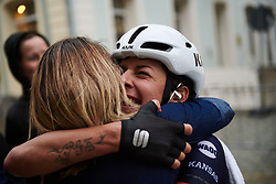 Barbara Guarischi (ITA) celebrates the stage win with Virtu Cycling DS, Carmen Small at Lotto Thüringen Ladies Tour 2019 - Stage 1, a 98.4 km road race in Gera, Germany on May 28, 2019. Photo by Sean Robinson/velofocus.com