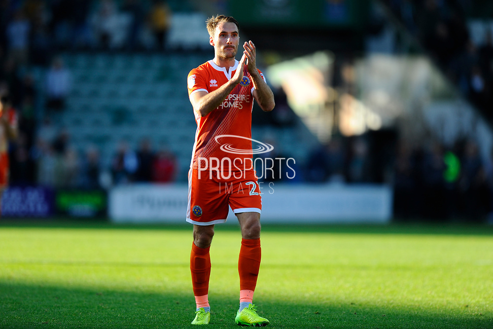 Alex Rodman (23) of Shrewsbury Town applauds the fans at full time after the 1-1 draw during the EFL Sky Bet League 1 match between Plymouth Argyle and Shrewsbury Town at Home Park, Plymouth, England on 14 October 2017. Photo by Graham Hunt.