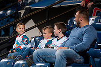 KELOWNA, CANADA - JANUARY 28: Young fans sit in the bleachers as the Kelowna Rockets take on the Portland Winterhawks on January 28, 2017 at Prospera Place in Kelowna, British Columbia, Canada.  (Photo by Marissa Baecker/Shoot the Breeze)  *** Local Caption ***