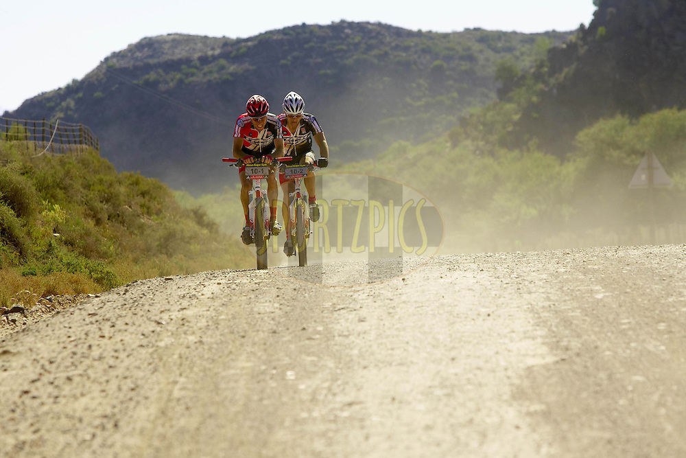 WESTERN CAPE, SOUTH AFRICA -  30 March 2008, Jeremiah Bishop and Chris Eatough of Trek/VW during stage two of the 2008 Absa Cape Epic Mountain Bike stage race from Saasveld Campus Nelson Mandela Metropolitan University in George to Calitzdorp Spa, Calitzdorp in the Western Cape, South Africa..Photo by Gary Perkin/SPORTZPICS