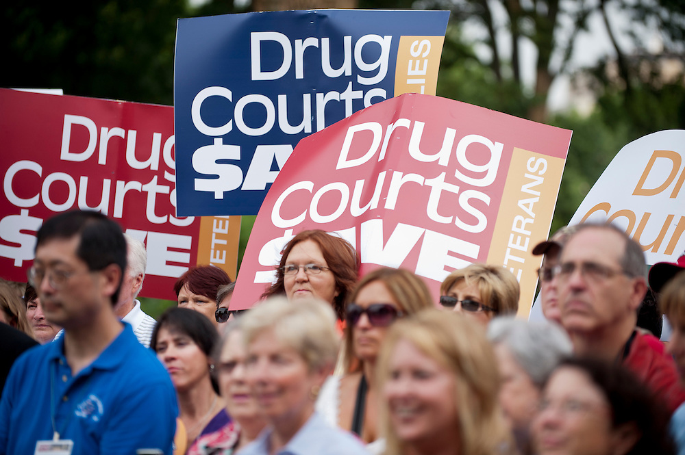 Drug Court workers and supporters at a rally on Capitol Hill for the National Association of Drug Court Professionals (NADCAP). NADCAP hosted the rally to petition members of Congress to fund drug courts, versus continuing to spend money on the prison system.