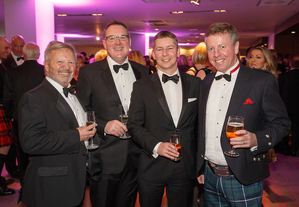 BNO Maggie's Spring Ball at Radisson Hotel Glasgow. L to R :  Jim MacDonald, Fraser Campbell, Angus Kerr and Eric Forgie. Picture Robert Perry for The Herald and  Evening Times 23rd April 2016<br /> <br /> Must credit photo to Robert Perry<br /> <br /> FEE PAYABLE FOR REPRO USE<br /> FEE PAYABLE FOR ALL INTERNET USE<br /> www.robertperry.co.uk<br /> NB -This image is not to be distributed without the prior consent of the copyright holder.<br /> in using this image you agree to abide by terms and conditions as stated in this caption.<br /> All monies payable to Robert Perry<br /> <br /> (PLEASE DO NOT REMOVE THIS CAPTION)<br /> This image is intended for Editorial use (e.g. news). Any commercial or promotional use requires additional clearance. <br /> Copyright 2016 All rights protected.<br /> first use only<br /> contact details<br /> Robert Perry     <br /> 07702 631 477<br /> robertperryphotos@gmail.com<br />         <br /> Robert Perry reserves the right to pursue unauthorised use of this image . If you violate my intellectual property you may be liable for  damages, loss of income, and profits you derive from the use of this image.