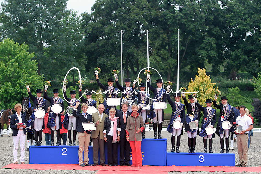 Prizegiving Young Riders<br /> 1.GER  2.NED  3.DEN<br /> European Championship Young Riders 2010 <br /> © Hippo Foto - Leanjo de Koster