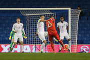 Florent Hadergjonaj, Swiss U21 International shoots at goal during the UEFA European Championship Under 21 2017 Qualifier match between England and Switzerland at the American Express Community Stadium, Brighton and Hove, England on 16 November 2015. Photo by Phil Duncan.