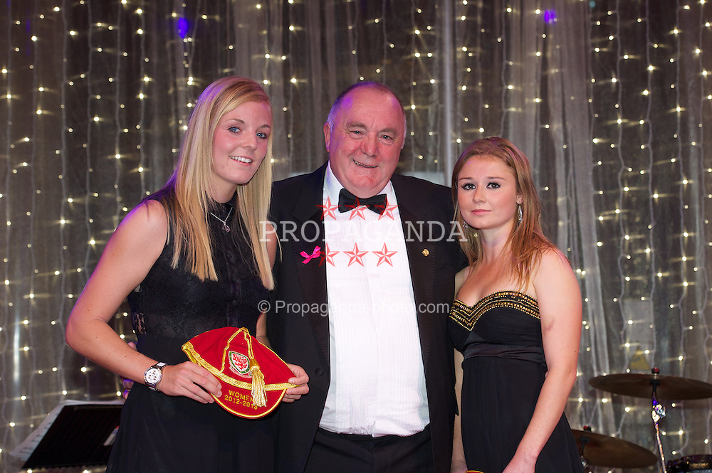 CARDIFF, WALES - Monday, October 8, 2012: Wales' FAW President Trevor Lloyd-Hughes presents caps to Sophie Ingle [l] and Sarah Wilshire [r] during the FAW Player of the Year Awards Dinner at the National Museum Cardiff. (Pic by David Rawcliffe/Propaganda)