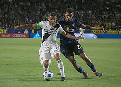 May 25, 2018 - Carson, California, U.S - Jonathan dos Santos #8 of the LA Galaxy battles for the ball with Anibal Godoy of  the San Jose Earthquakes during their MLS game on Friday May 25, 2018 at the StubHub Center in Carson, California. LA Galaxy defeats the Earthquakes, 1-0. (Credit Image: © Prensa Internacional via ZUMA Wire)