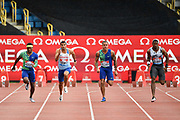 Michael Rodgers (USA), left, Adam Gemili (GBR),  second left, Christopher Belcher (USA), and Yohan Blake (JAM) runni9ng to a photo finish, Blake won in a time of 10.07 during the 100m men's Final at the Birmingham Grand Prix, Sunday, Aug 18, 2019, in Birmingham, United Kingdom. (Steve Flynn/Image of Sport via AP)
