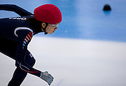 Noh Do Hee of South Korea competes in the Women's 500 Meters on day two of the 2013 ISU Short Track Speed Skating Junior World Championships at Torwar Ice Hall on February 23, 2013 in Warsaw, Poland...Poland, Warsaw, February 23, 2013...Picture also available in RAW (NEF) or TIFF format on special request...For editorial use only. Any commercial or promotional use requires permission...Photo by © Adam Nurkiewicz / Mediasport