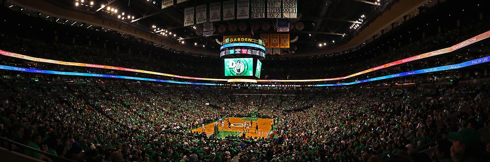 This Boston sport panorama photography image of the Boston Celtics at the TD Garden is available as museum quality photography prints, canvas prints, acrylic prints, wood prints or metal prints. Wall art prints may be framed and matted to the individual liking and decorating needs:<br />