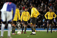 Photo: Paul Thomas.<br /> Blackburn Rovers v Arsenal. The FA Cup. 28/02/2007.<br /> <br /> Dejected captain Gilberto Silva (R) and Denilson wait to while Blackburn celebrate their goal.