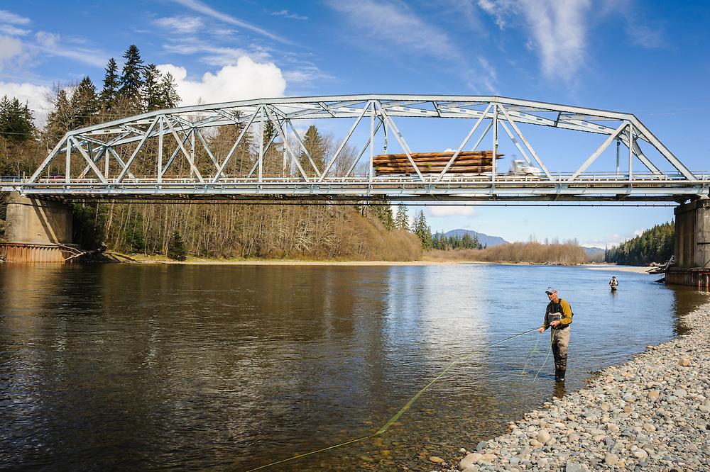 Logging truck and bridge. Kitimat, BC