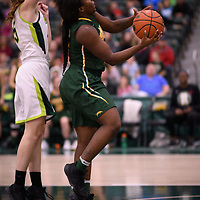 2nd year guard Kyanna Giles (9) of the Regina Cougars during the Women's Basketball home game on November 11 at Centre for Kinesiology, Health and Sport. Credit: Arthur Ward/Arthur Images