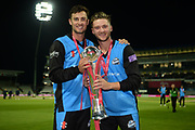 Ed Barnard and Joe Clarke of Worcestershire Rapids with the  Vitality blast trophy during the final of the Vitality T20 Finals Day 2018 match between Worcestershire Rapids and Sussex Sharks at Edgbaston, Birmingham, United Kingdom on 15 September 2018.