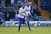 Bury Forward, Ryan Lowe scores , 1-1, during the Sky Bet League 1 match between Bury and Southend United at the JD Stadium, Bury, England on 8 May 2016. Photo by Mark Pollitt.