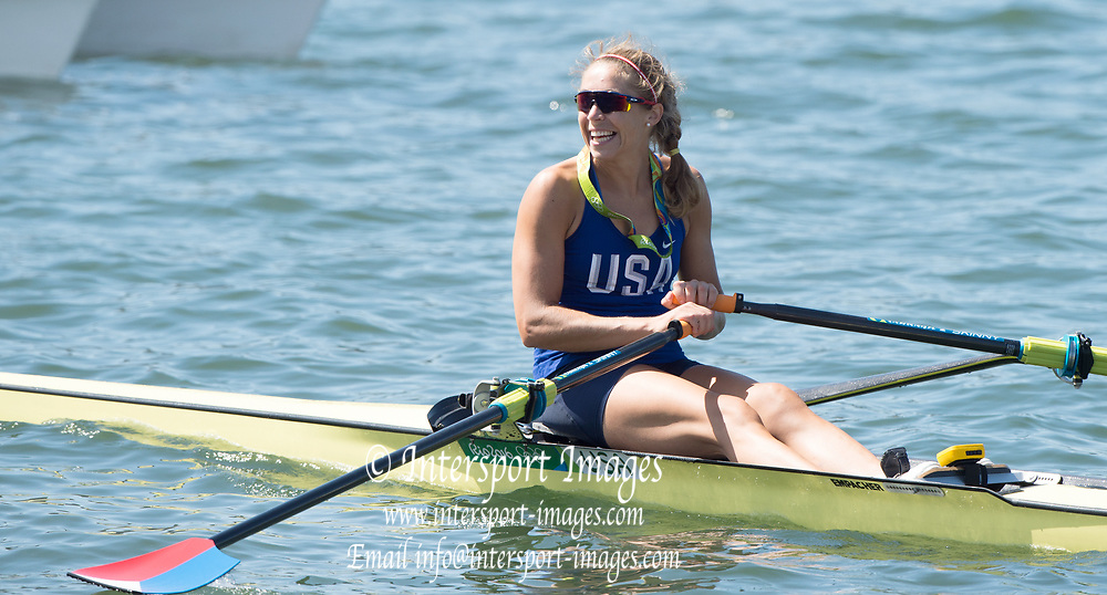 Rio de Janeiro. BRAZIL    Gevvie STONE, USA W1X Silver Medalist at the, 2016 Olympic Rowing Regatta. Lagoa Stadium, Copacabana,  &ldquo;Olympic Summer Games&rdquo;<br /> Rodrigo de Freitas Lagoon, Lagoa. Local Time 11:34:17  Saturday  13/08/2016<br /> [Mandatory Credit; Peter SPURRIER/Intersport Images]