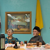 030315      Cayla Nimmo<br /> <br /> Ramona Hubbard, left, Tony Delao, middle, and Mary Delao, right, sit together before lunch at the North Side Senior Center in Gallup Tuesday.
