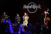 Artist Ambassador Echosmith performs at the launch event for Hard Rock International's 16th annual PINKTOBER breast cancer awareness campaign at Hard Rock Cafe New York on Monday September 14, 2015. (Photo by Diane Bondareff/Invision for Hard Rock International)