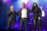 Holland zingt Hazes in het Ziggo Dome, Amsterdam.<br /> <br /> op de foto:  Roxeanne Hazes, Jeroen van der Boom en Andre Hazes Jr.