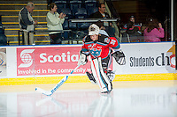 KELOWNA, CANADA - OCTOBER 10: Jordon Cooke #30 of the Kelowna Rockets enters the ice as the Spokane Chiefs visit the Kelowna Rockets on October 10, 2012 at Prospera Place in Kelowna, British Columbia, Canada (Photo by Marissa Baecker/Shoot the Breeze) *** Local Caption ***