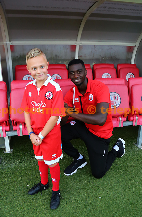 Enzio Boldewijn of Crawley signs a mascots shirt during the Checkatrade Trophy match between Crawley Town and Charlton Athletic at the Checkatrade Stadium in Crawley. 29 Aug 2017