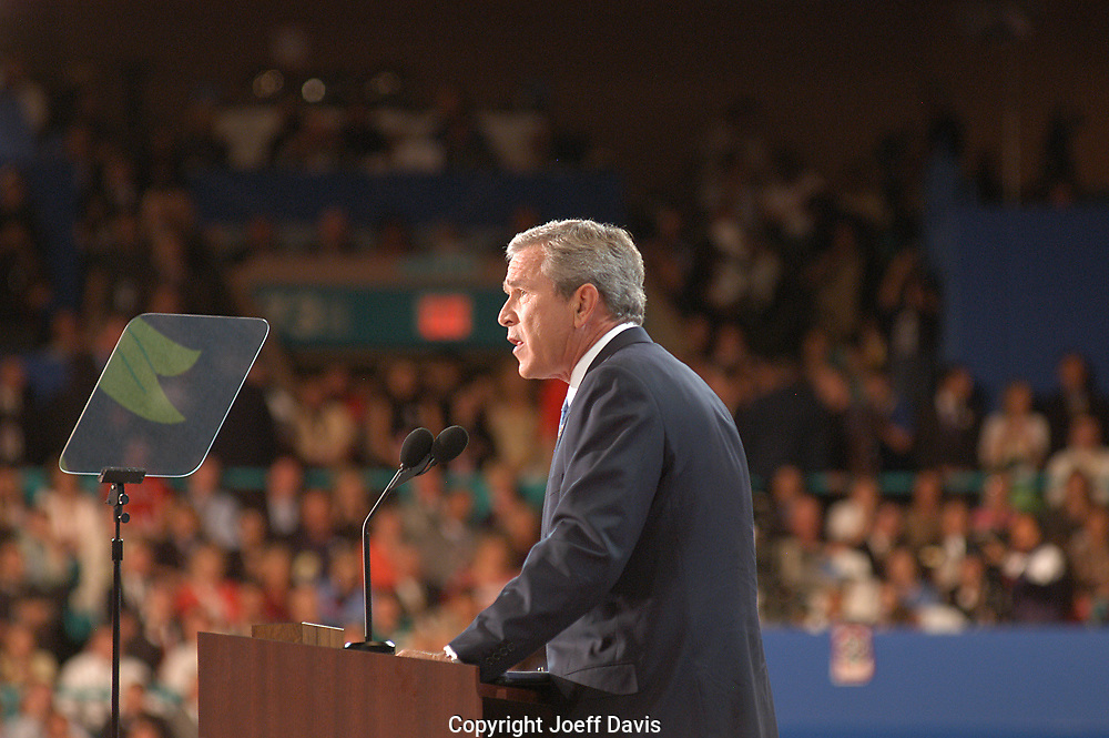 NEW YORK, NY - September 2, 2004: President George W. Bush's acceptance speech at the 2004 Republican National Convention.