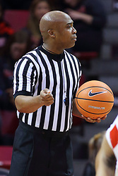 22 November 2017:  Ervin Wilson handles lane duties during a free throw during a College mens basketball game between the Quincy Hawks and Illinois State Redbirds in  Redbird Arena, Normal IL