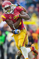 17 October 2012: Wide receiver (9) Marqise Lee of the USC Trojans catches a pass and scores a touchdown against the UCLA Bruins during the second half of UCLA's 38-28 victory over USC at the Rose Bowl in Pasadena, CA.