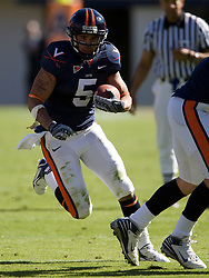 Virginia tight end Mikell Simpson (5) rushes between the tackles.  The #23 Virginia Cavaliers defeated the #24 Wake Forest Demon Deacons 17-16 at Scott Stadium in Charlottesville, VA on November 3, 2007.
