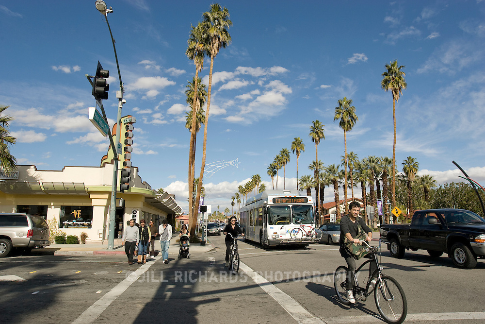 Downtown Palm Springs, CA buzzes with foot-traffic, restaurants and shops.
