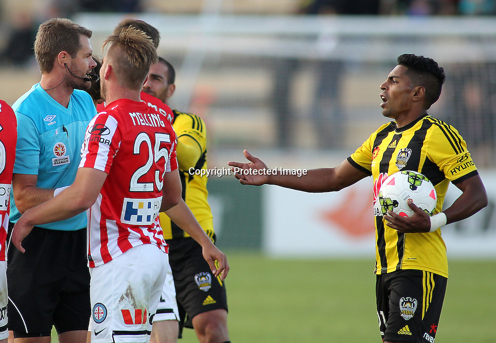 Phoenix' Roy Krishna remonstrates with the referee during the A-League football match between the Wellington Phoenix & Melbourne City, at the Hutt Recreational Ground, Wellington, 14 February 2015. Photo.: Grant Down / www.photosport.co.nz