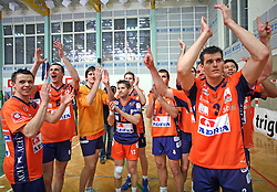 Players of ACH Volley celebrating at 4th and final match of Slovenian Voleyball  Championship  between OK Salonit Anhovo (Kanal) and ACH Volley (from Bled), on April 23, 2008, in Kanal, Slovenia. The match was won by ACH Volley (3:1) and it became Slovenian Championship Winner. (Photo by Vid Ponikvar / Sportal Images)/ Sportida)