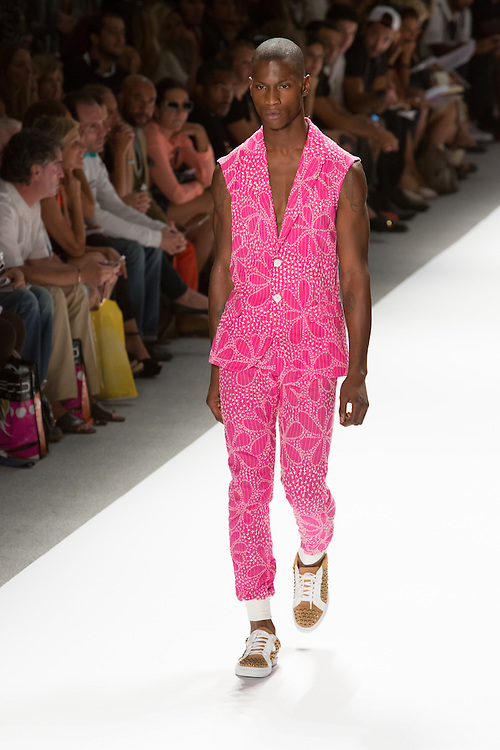 Men's pants and matching vest in a bright pink print. By Custo Barcelona at the Spring 2013 Fashion Week show in New York.