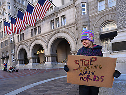 "December 10, 2016 - Washington, DC, USA - ADELINE (ADDIE) WORSLEY, 5 years old holds sign at hotel.  Children's Rally for Kindness takes place at Trump International Hotel in Washington DC on December 10, 2016 organized by the Takoma Parents Action Coalition.  According to their FaceBook page, it was a call to President-elect Donald Trump: ''to remember these lessons as he prepares to take office and implement policies that will affect the lives of children and families across our diverse nation.''.''All over the world, across cultures and countries, children learn the same basic lessons: .Ã'be kind,Ã"" .Ã'tell the truth,Ã"" .Ã'be fair,Ã"" .Ã'respect everyone,Ã"" .Ã'treat others the way you want to be treated,Ã"" .Ã'donÃ•t touch others if they donÃ•t want to be touched. (Credit Image: © Carol Guzy via ZUMA Wire)"