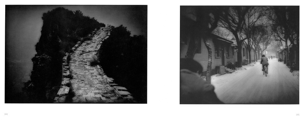 """L:  The Great Wall atop a knife's edge.  Simitai, China.  2000..R:  Cyclists wind their way through a snowy """"hutong"""" (alley), Beijing, China."""
