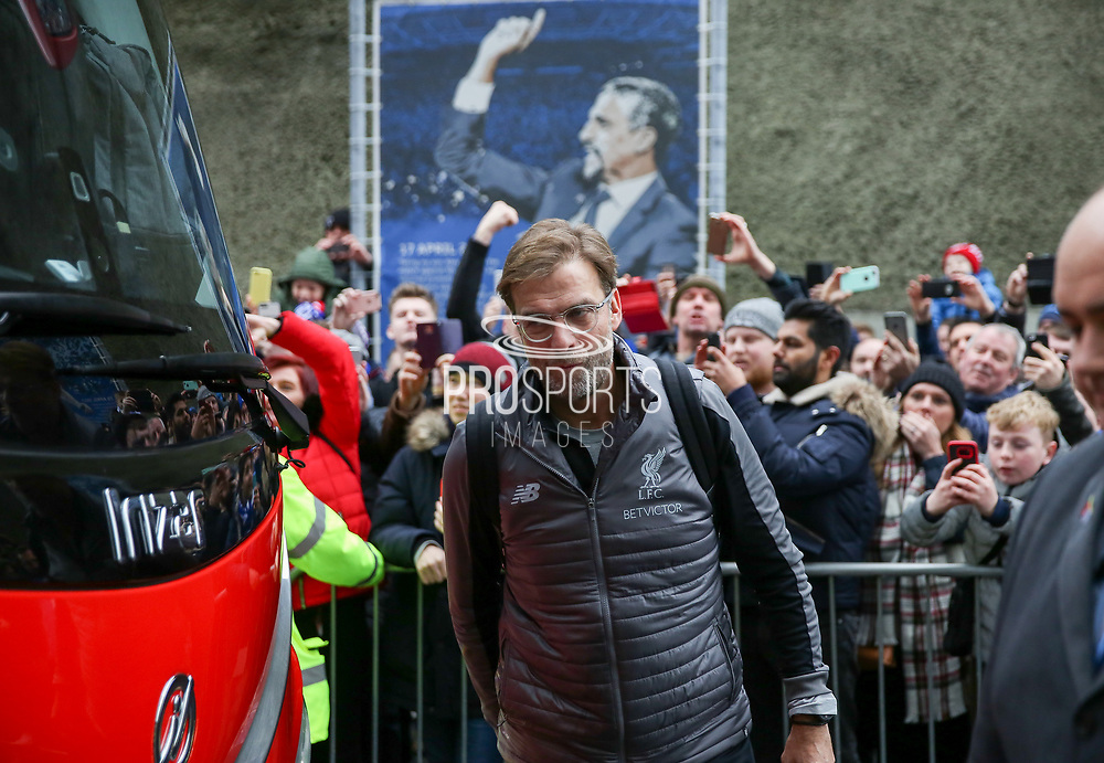 Liverpool manager Jurgen Klopp arrives off the club coach during the Premier League match between Brighton and Hove Albion and Liverpool at the American Express Community Stadium, Brighton and Hove, England on 12 January 2019.
