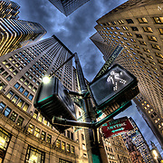 Fisheye view of the Financial District in lower Manhattan, not long after the great meltdown of 2008.