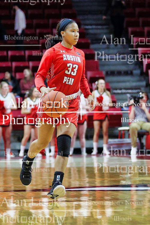 NORMAL, IL - December 04: Brandi Ferby during a college women's basketball game between the ISU Redbirds  and the Austin Peay Governors on December 04 2018 at Redbird Arena in Normal, IL. (Photo by Alan Look)